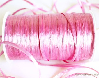 SALE Pearl Azalea Pink Raffia Ribbon - 30/100 yards - 1/4 inch wide
