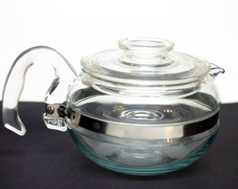 Pyrex Flameware Solid Glass Teapot - 8446-B - Tea Kettle 6 Cup With Lid - Glassware - Coffee / Tea Pot Blue Tint Clear Lid