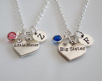Big Sister, Little Sister necklaces, set of 2 sisters necklaces, Birthstones necklaces, Personalized Necklaces, Big Lil Sisters gifts