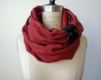 Rust linen circular infinity scarf