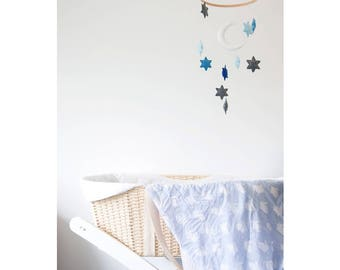 Moon Stars Mobile, Baby Mobile, Nursery Mobile, Felt Mobile, Cot Mobile, Nursery Decor, Baby Room, Kids Bedroom, Hanging Toys, Handmade,Gift
