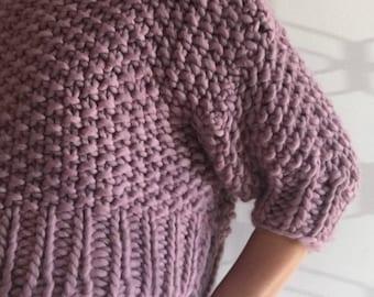 Handmade Chunky Woollen Knitted Jumper : Mauve