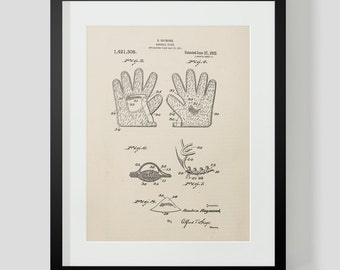1922 Baseball Glove Sheet 2 Patent Print
