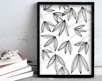 Flower illustration, pen drawing, black and white plant print art, nature print poster, pen illustration, home decoration, wall art