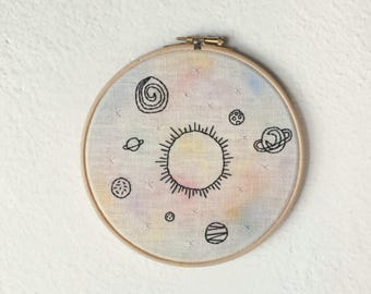 Space / solar system / cosmic / hand embroidery hoop art / wall decor