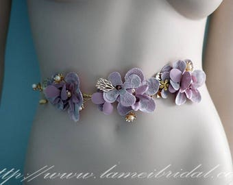 Rhinestones on Hand Cut Purple Fabric Flowers Adorning Bling Underlay Bridal Belt Wedding Sash, Blush wedding dress sash belt