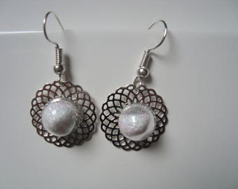 Print and glass dome earrings