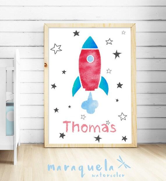 Lámina COHETE espacial niños personalizada/ Nursery ROCKET illustration