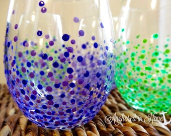Color Stemless Wine Glasses