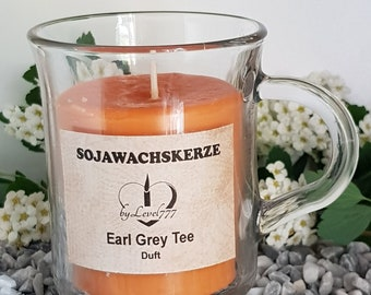 Soy wax candles in the tea glass. Earl Grey tea + 1 tea glass free!