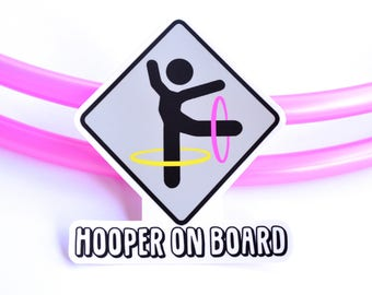 Hooper on Board Sticker ~ Flow Arts Hula Hooping Sticker, Hooper Crossing Decal Sticker, Hooper on Board, FestivalTreasures, Fast Shipping