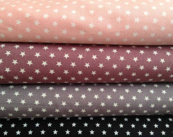 Fabric fig / plum 100% cotton with white stars with 6 mm