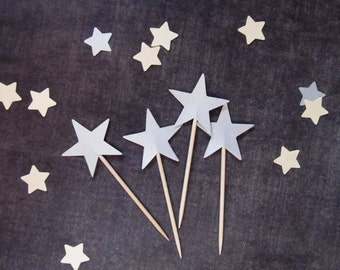 15 Silver Shimmer Star Cupcake Toppers, Holiday, Christmas, New Year, Twinkle Little Star Baby Shower, Graduation, Wedding, Birthday