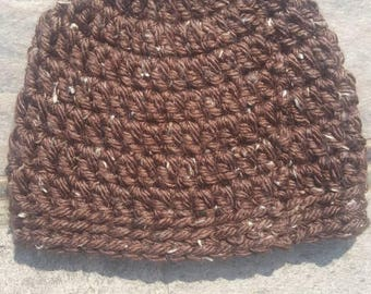 Women's/ Teen Brown Tweed Beanie