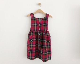 Vintage Toddler Girl Red Plaid Osh Kosh Dress   90's Jumper Dress   size 4t