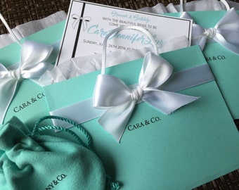Princess & Co. Inspired Authentic blue color Invitation, Breakfast at