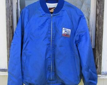 80s Power Generation Shiny Baseball Jacket by King Louie, Men's L-XL // Vintage Blue Varsity Jacket