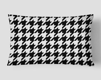 Black Lumbar Pillow, Houndstooth Pillow, Black White Cushion, 14x20 Cushion Cover, Checkered Cushion, Cover and Insert, Decorative Pillow