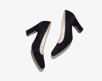 Vintage Leather Heels 6 / Charles Jourdan Heels / Black Suede Pumps / Minimal Heels