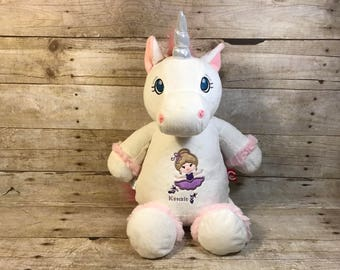 Personalized Cubbie White Unicorn Cubbie Baby Embroidered Cubbies Stuffed Animal Personalized Animal Gift Baptism Gift Birth Announcement