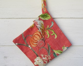 SALE Linen  Organizer / Fall Paterned linen / Lingerie Bag /  Travel Bag