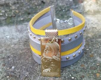 Bracelet manchette avec connecteur à graver