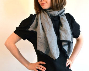 grey scarf with black lace