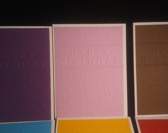 Birthday Card, Handmade Embossed Birthday Card Set of 10 cards, choose color or mixed assortment
