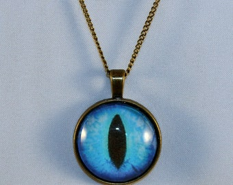 Blue Handcrafted Glass Dragon Eye Necklace - Blue Dragon Eye - Dragon Eye Necklace - Glass Dragon Necklace - 13-001 18- 18 - 20