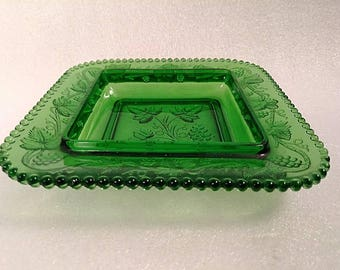 Vintage Emerald Green Glass Grapevine Design Change Tray