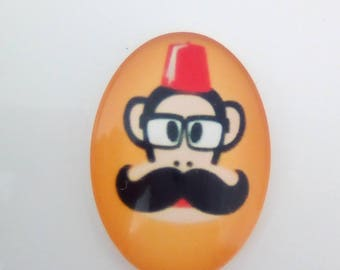 Black mustache orange oval glass cabochon 25x18mm