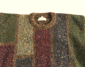Vintage 90s Paul Stuart Heavy Wool Abstract Sweater 46