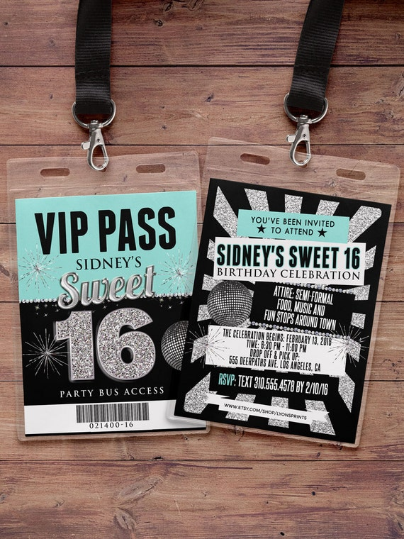 VIP PASS Sweet 16 21st birthday backstage pass birthday