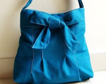 May SALES -- BOW in TEAL BLUE with Adjustable Strap , Shoulder bag, Messenger