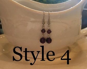 Faceted Amethyst/Purple Drop Earrings