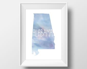 Alabama State Blue Watercolor Printable Art, Alabama Print, Alabama Art, Modern Art,