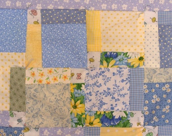 Calico Baby Blue / Yellow Quilt - Tossed Nine Patch Design