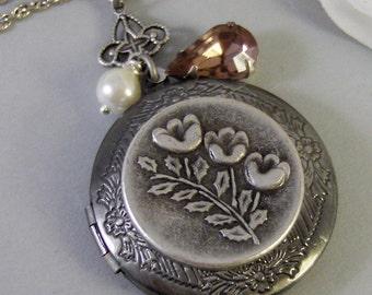 Teaberry Blossom,Locket,Silver,Flower,Antiqued,Blush,Brass,Pink,Vintage Rhinestone.Jewelery by Valleygirldesigns.