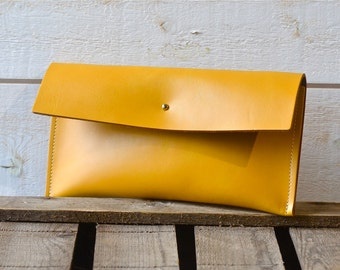 LEATHER CLUTCH Mustard Leather Wallet, wedding clutch, bridesmaid clutch, travel clutch, bridal clutch,bridesmaid gift, christmas gift