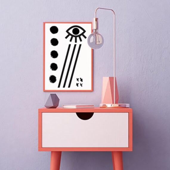 MAUVAIS OEIL 003 // Abstract art, 12x18, minimalist art print, geometric print, Scandinavian style, nordic design, pink, eye