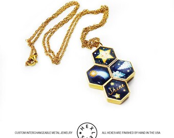 Starlight Necklace - Gold - Interchangeable Artwork