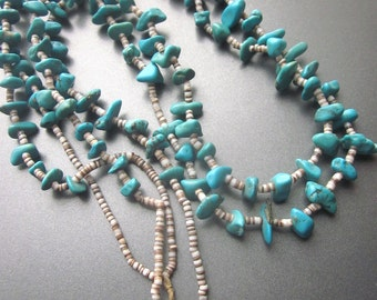 Turquoise Nugget Vintage Necklace Native American Beaded Natural Kingman Turquoise and Heishi Southwest Jewelry