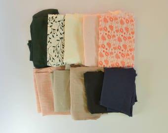 Fabric scrap bundle, Scandinavian Fabric scraps, linen scrap bundle, linen scraps