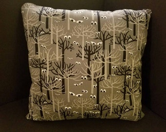 Tree Silhouettes and Creepy Eyes Halloween Pillows