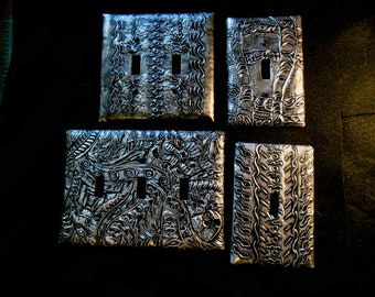 Hand embossed light switch covers, repousse, metal relief, aluminum, home decor, wall art, pewter, copper, unique gift, house warming gift