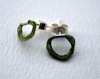 Silver with Thread Stud Earrings