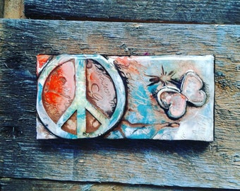 Positive Wall Art/ Inspirational Wall Decor/ Polymer Clay Tile/ Butterfly/ Peace Sign Wall Art/ Office Decor/ 2x4in Hanging/ Handmade/ 60's