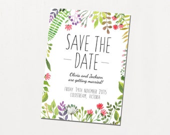 Printable Save The Date - In The Meadow / Botanical Watercolour DIY Wedding Stationery