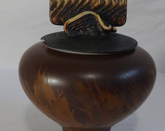 "Andrew MacCorkindale Asian Inspired Studio Art Pottery Bowl w/ Lid  - Great Condition - 6"" diameter x 8.5 "" high - Signed - 1997"