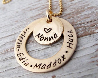 Gold Grandma Necklace, Grandmother, Grandkids Names, Hand Stamped, Mother's Necklace